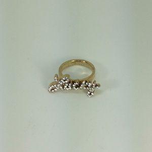 """Lucky"" Pave Word Ring w/ Swarovski Crystal"
